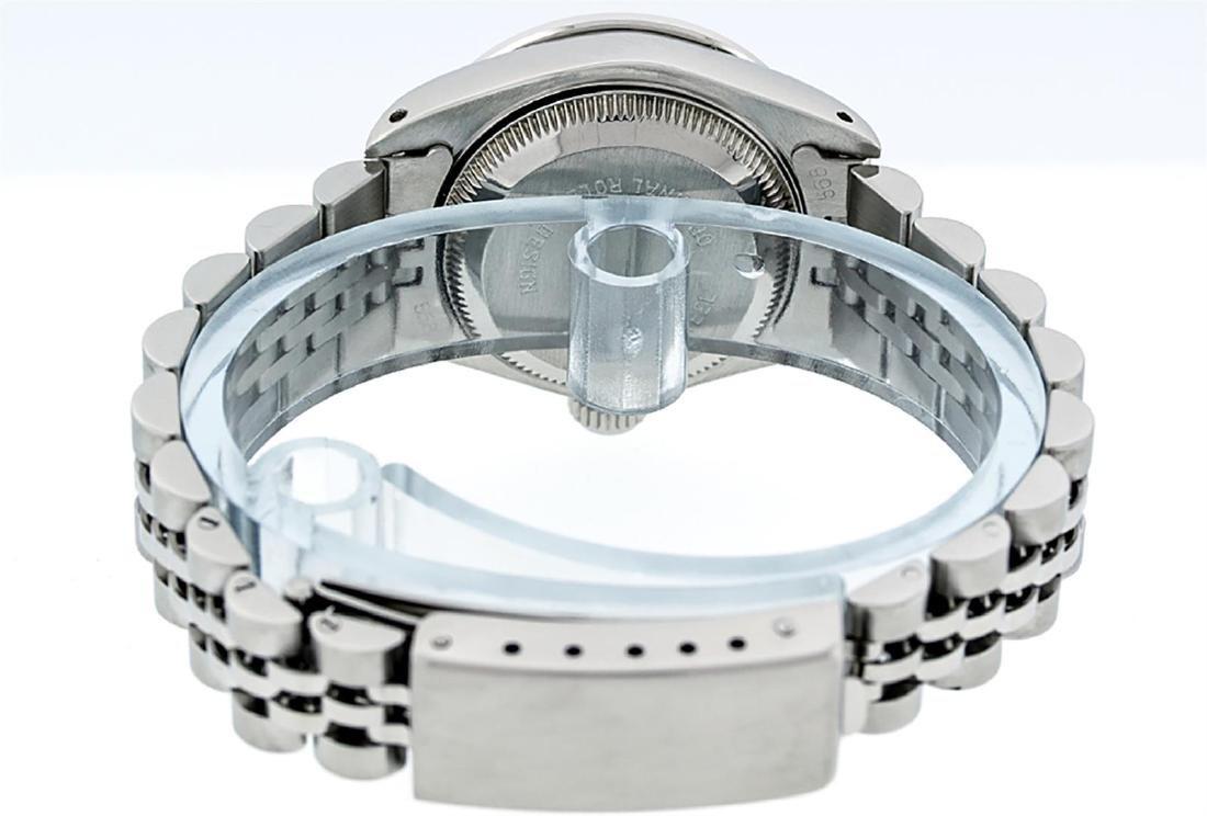 Rolex Ladies Stainless Steel 26MM Maroon Diamond Lugs - 8