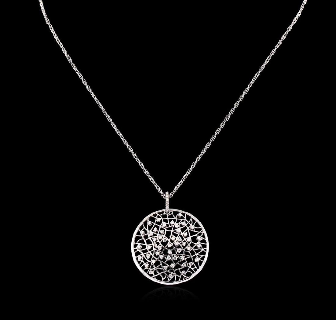 0.94 ctw Diamond Pendant With Chain - 14KT White Gold - 2