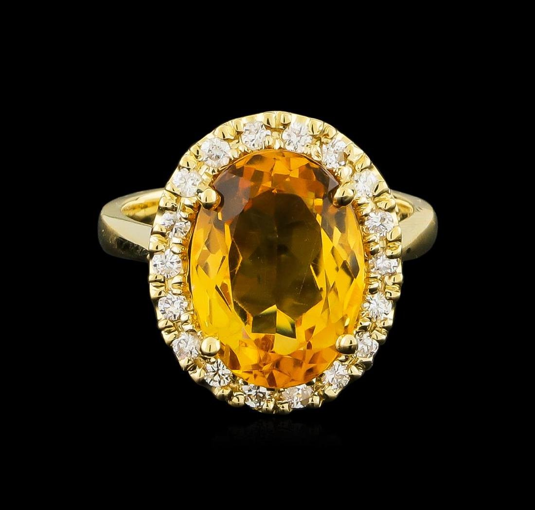 6.14 ctw Citrine and Diamond Ring - 14KT Yellow Gold - 2