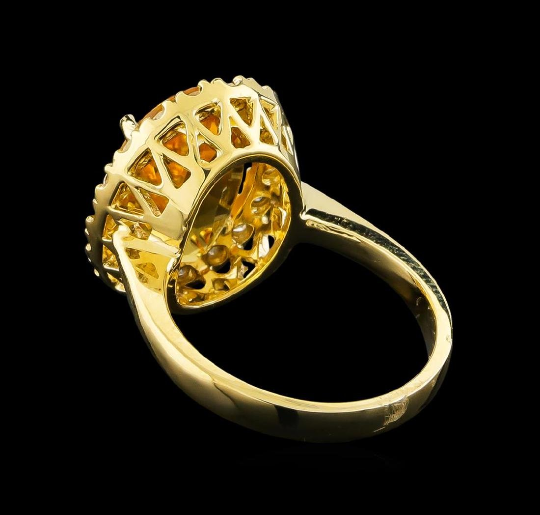 6.14 ctw Citrine and Diamond Ring - 14KT Yellow Gold - 3