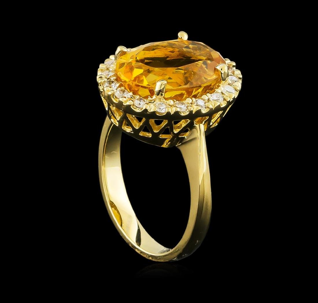 6.14 ctw Citrine and Diamond Ring - 14KT Yellow Gold - 4