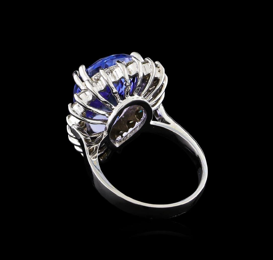11.11 ctw Tanzanite and Diamond Ring - 14KT White Gold - 3