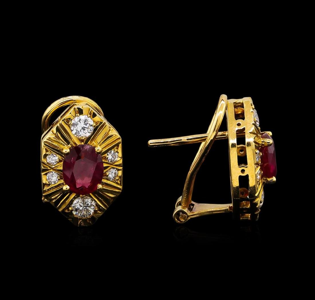 1.40 ctw Ruby and Diamond Earrings - 18KT Yellow Gold - 2