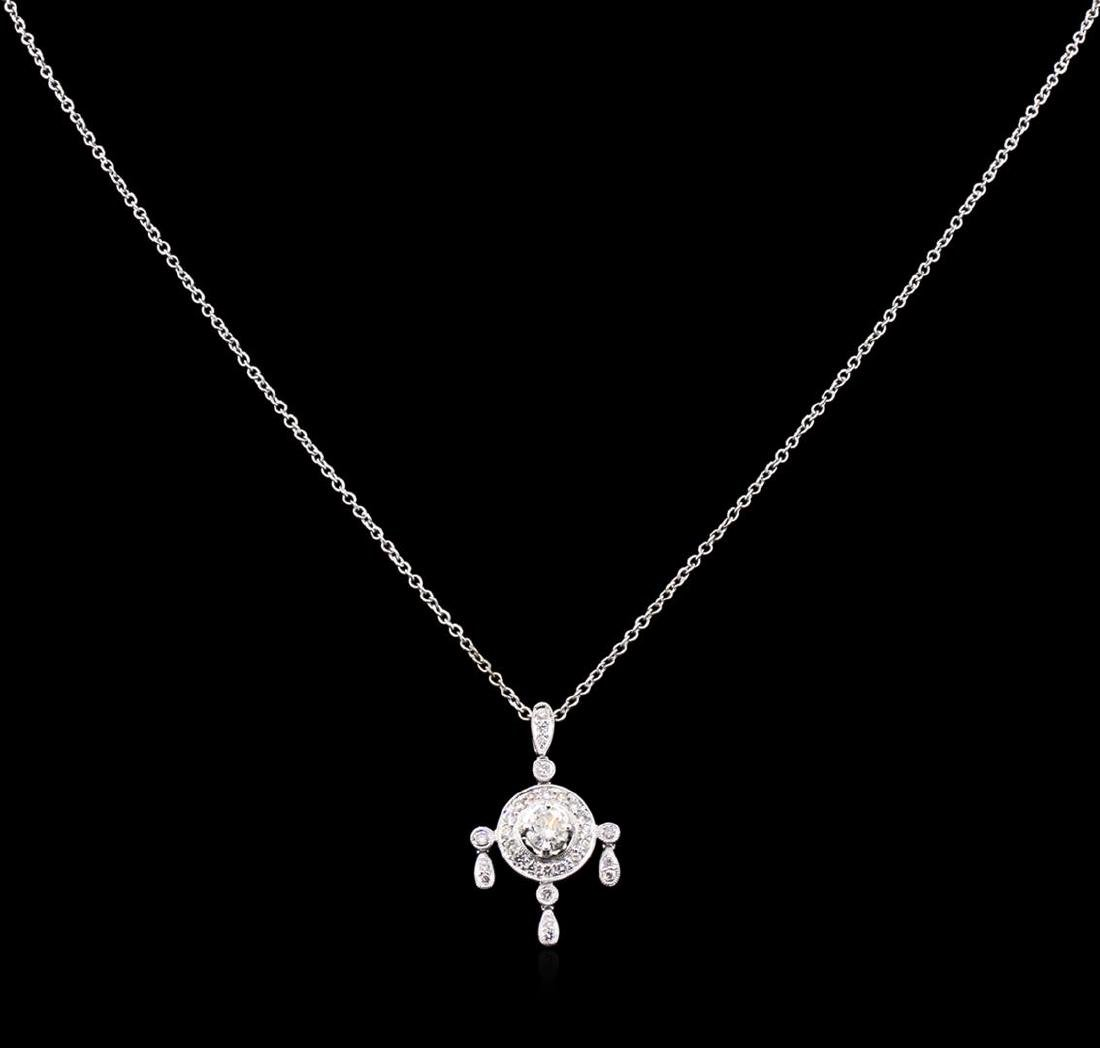 0.91 ctw Diamond Pendant With Chain - 18KT White Gold - 2
