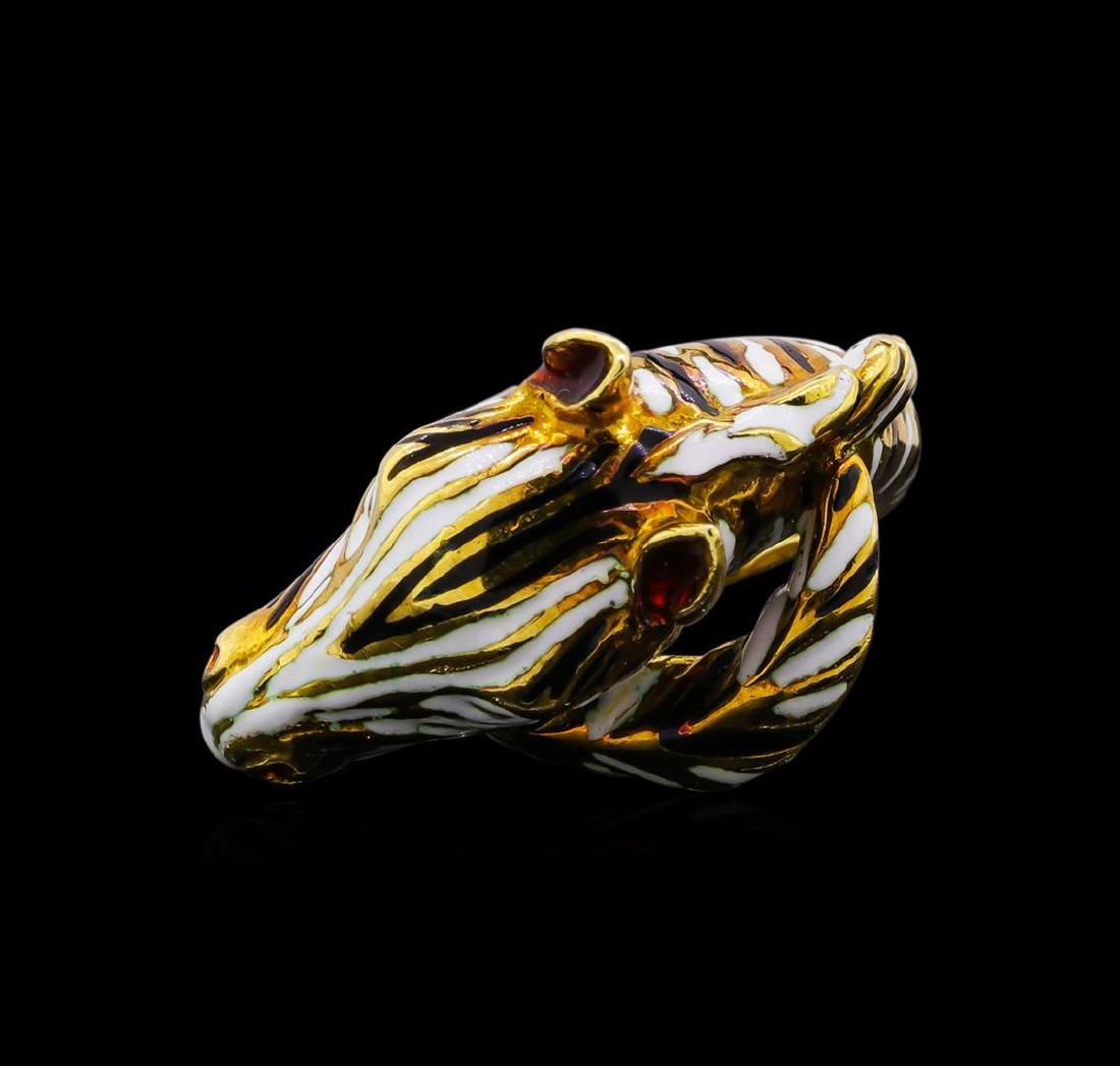 18KT Yellow Gold Zebra Ring - 2