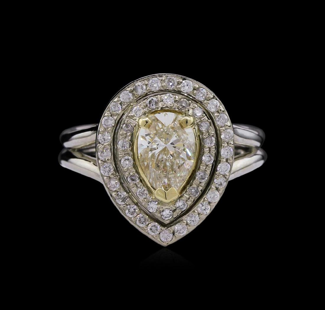 1.50 ctw Light Yellow Diamond Ring - 14KT Two-Tone Gold - 2