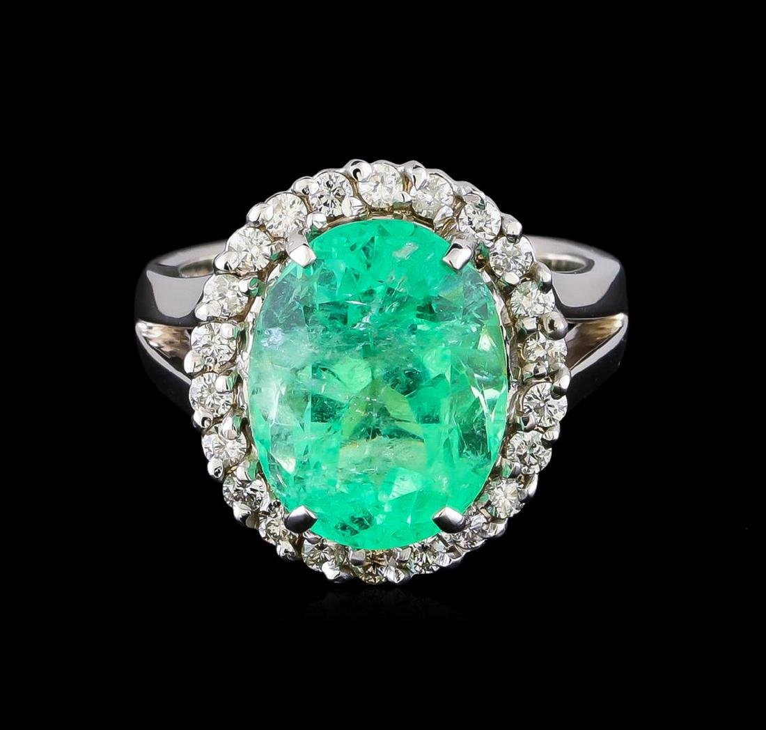7.20 ctw Emerald and Diamond Ring - 14KT White Gold - 2