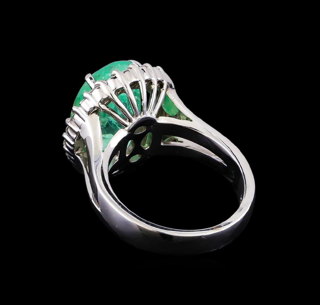 7.20 ctw Emerald and Diamond Ring - 14KT White Gold - 3