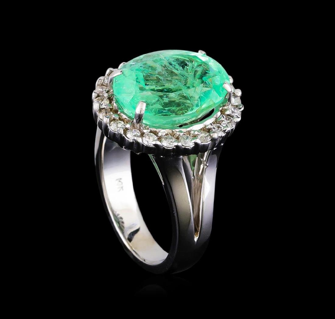 7.20 ctw Emerald and Diamond Ring - 14KT White Gold - 4