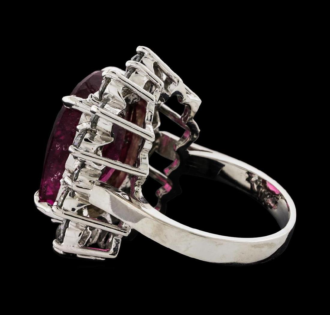 11.12 ctw Tourmaline and Diamond Ring - 14KT White Gold - 3