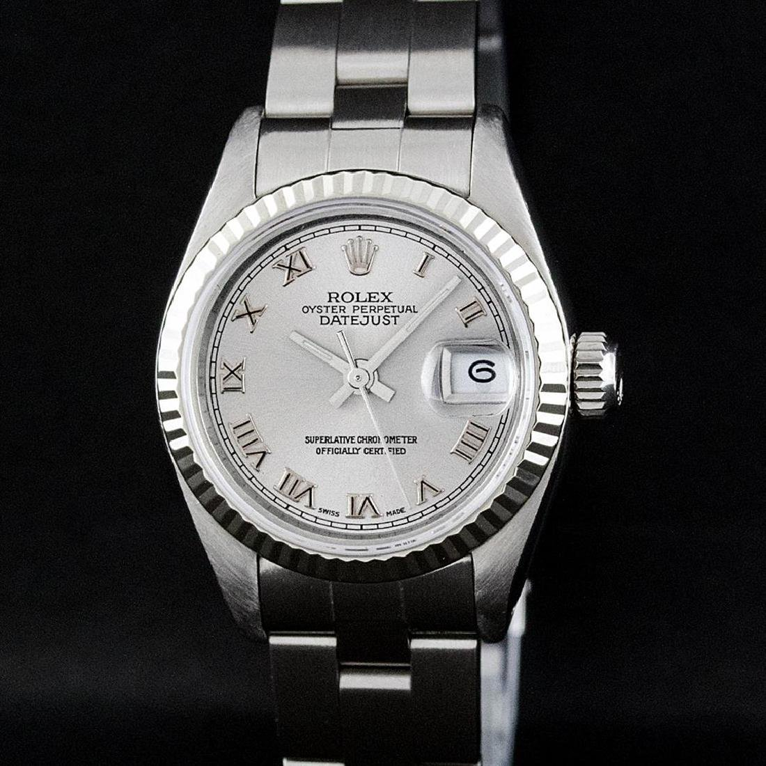 Rolex Ladies Stainless Steel Slate Grey 26MM Oyster