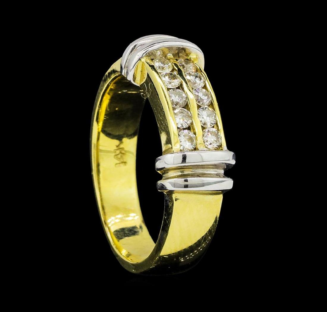 0.37 ctw Diamond Ring - 14KT Yellow and White Gold - 4