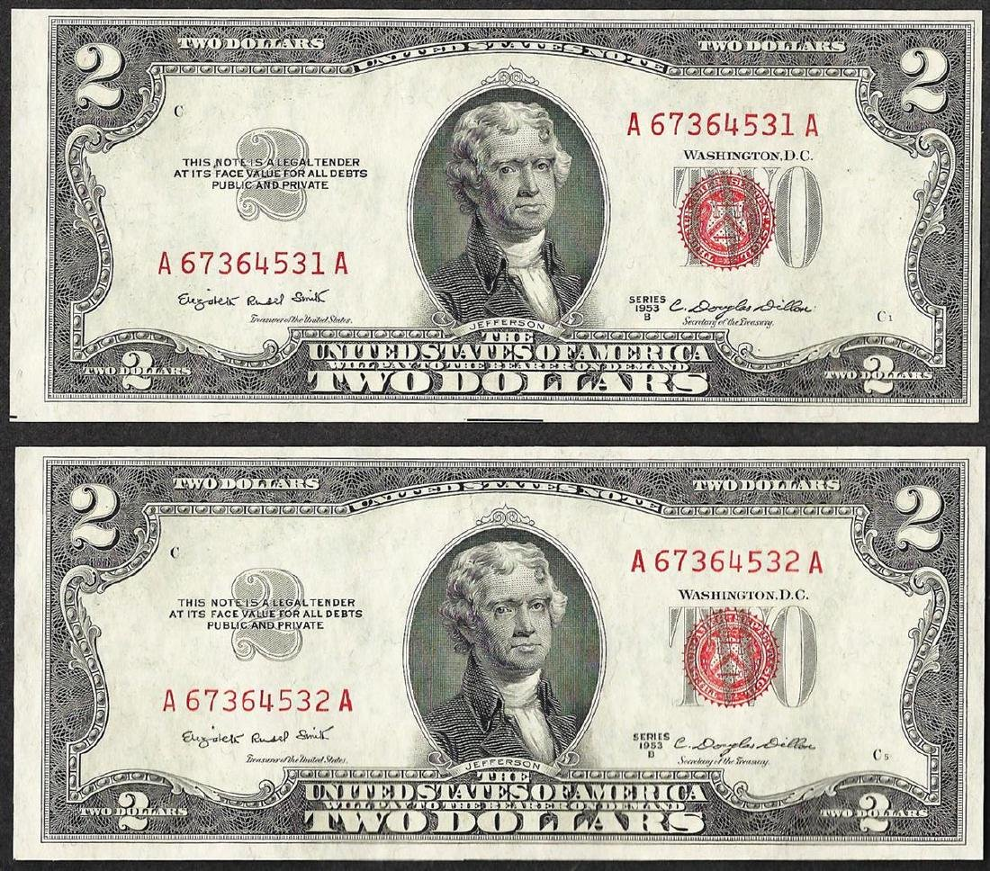 Lot of (2) 1953B $2 Legal Tender Notes
