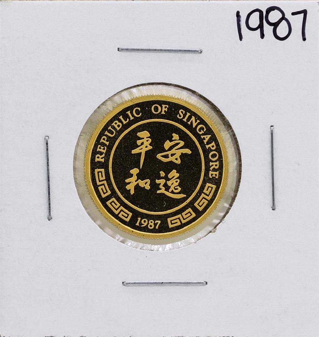 1987 Singapore 1/4 Oz. Gold Coin Year of the Rabbit - 2