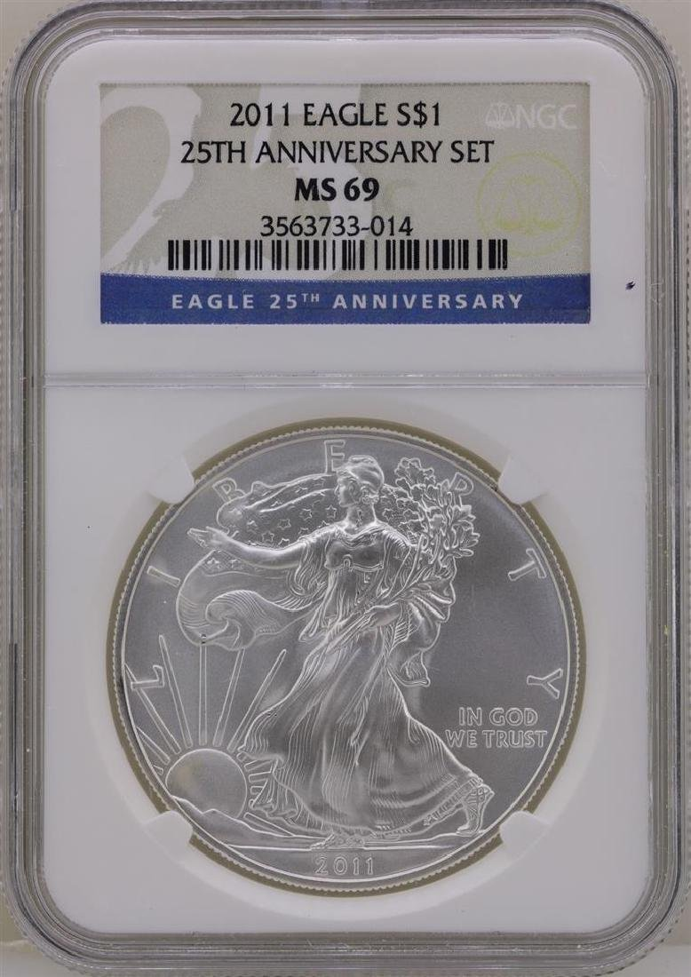2011 $1 American Silver Eagle Coin NGC MS69 Early