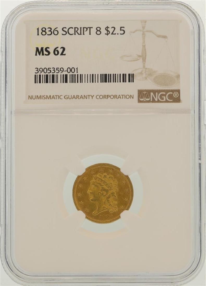 1836 $2.5 Liberty Head Quarter Eagle Gold Coin NGC MS62