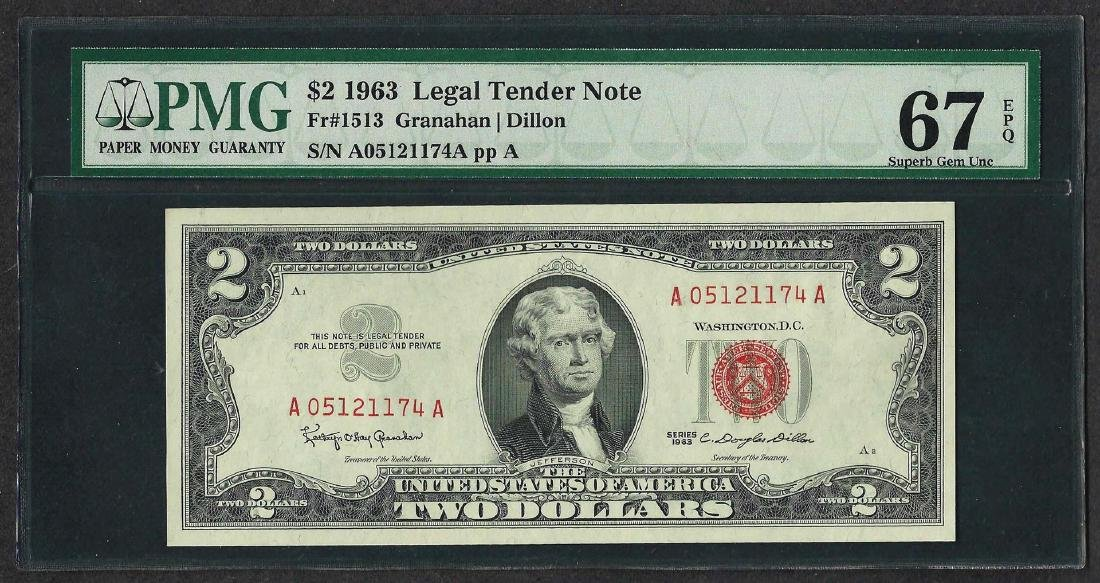 1963 $2 Legal Tender Note Fr.1513 PMG Superb Gem