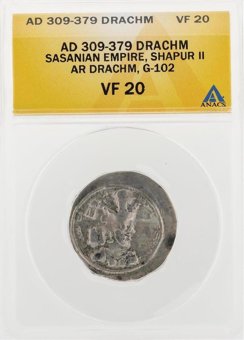 AD 309-379 Drachm Sasanian Empire Shapur II AR Drachm