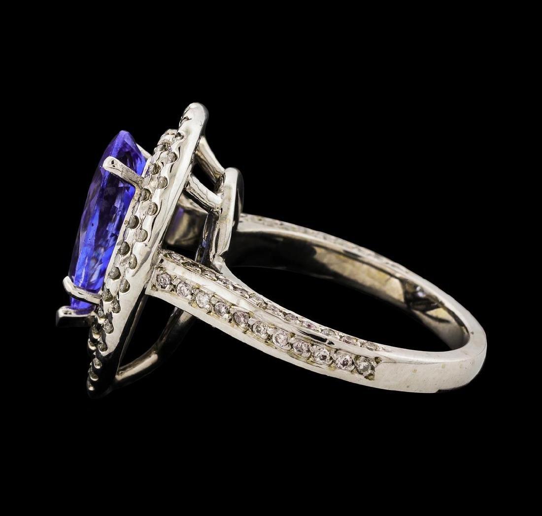 3.12 ctw Tanzanite and Diamond Ring - 14KT White Gold - 3