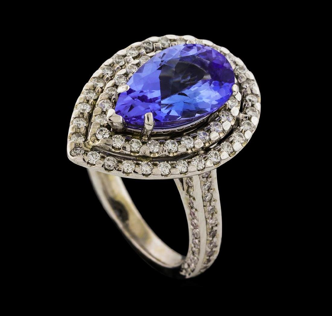 3.12 ctw Tanzanite and Diamond Ring - 14KT White Gold - 4
