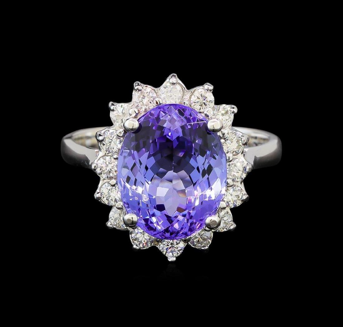 14KT White Gold 4.37 ctw Tanzanite and Diamond Ring - 2