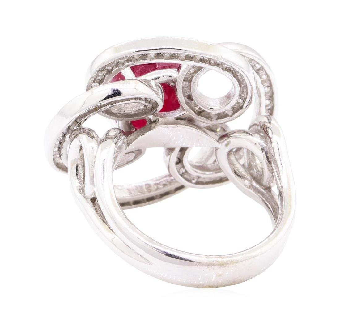 5.78 ctw Ruby And Diamond Ring - 14KT White Gold - 3