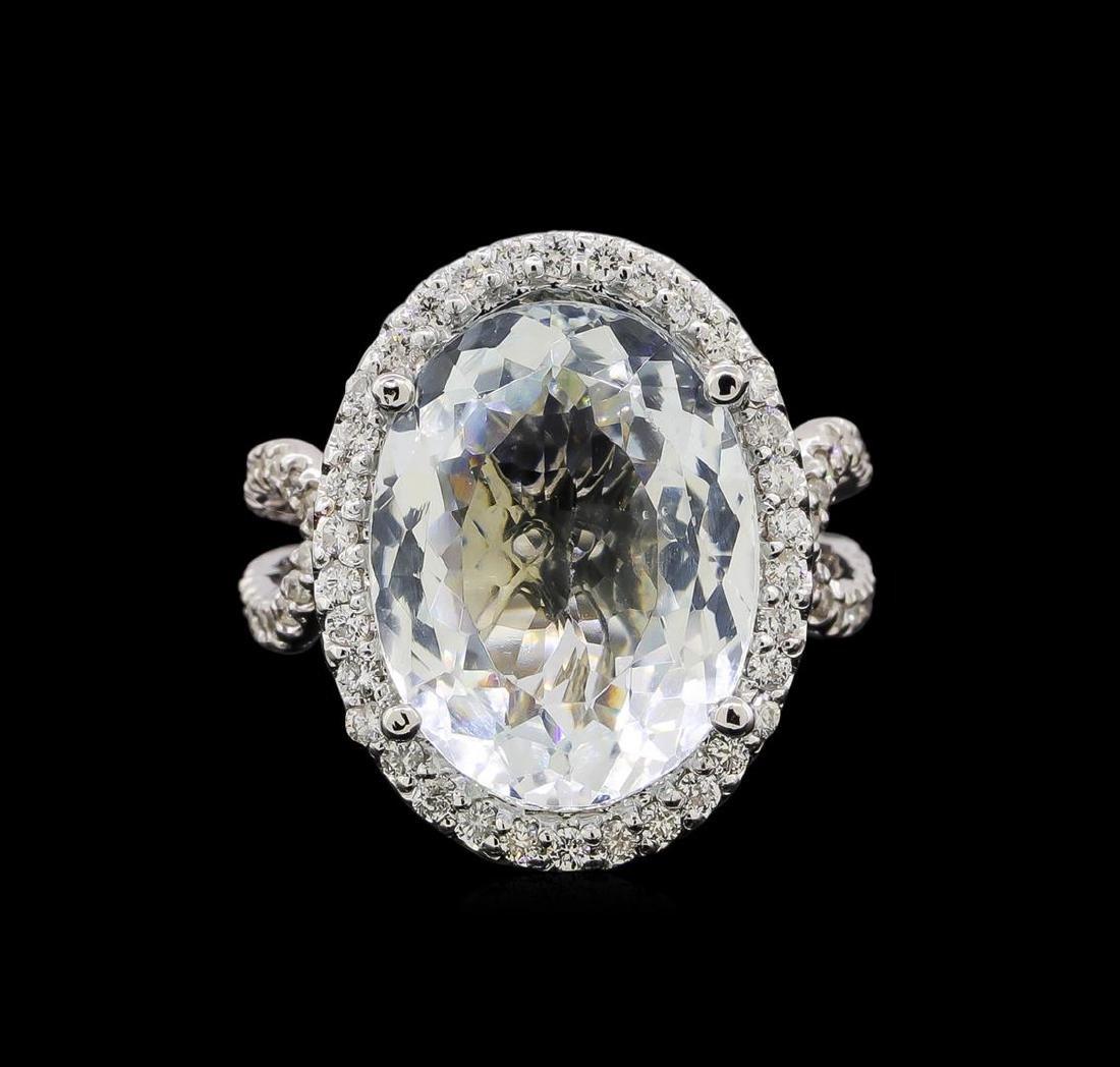 14KT White Gold 9.47 ctw Aquamarine and Diamond Ring - 2