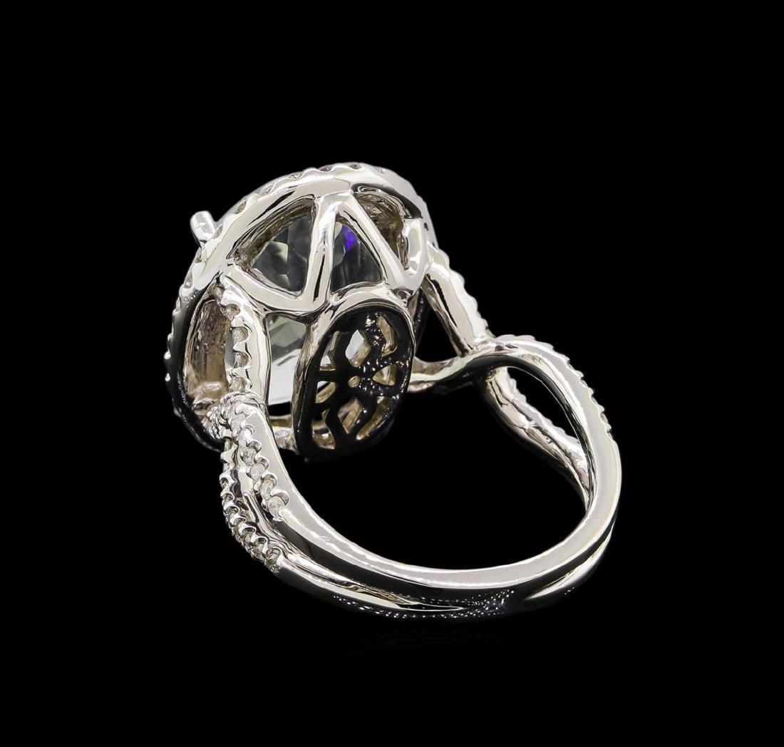 14KT White Gold 9.47 ctw Aquamarine and Diamond Ring - 3