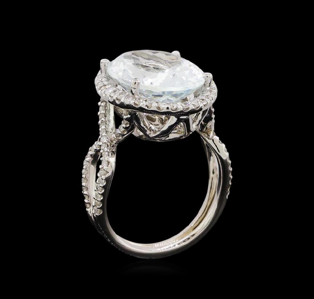 14KT White Gold 9.47 ctw Aquamarine and Diamond Ring - 4