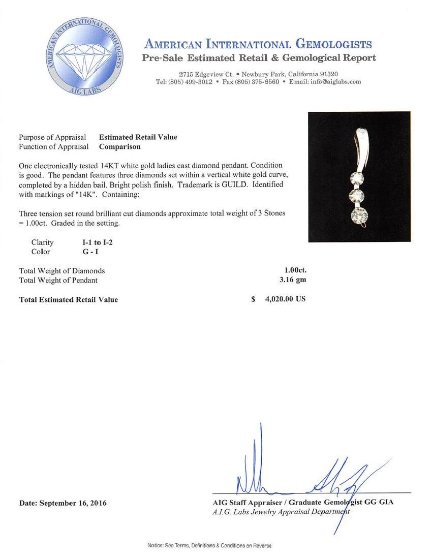1.00 ctw Diamond Pendant - 14KT White Gold - 3