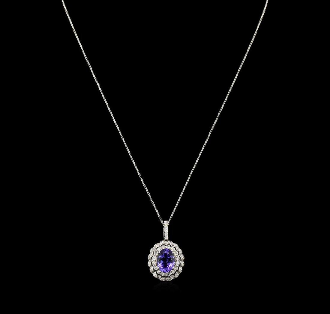 5.23 ctw Tanzanite and Diamond Pendant With Chain -