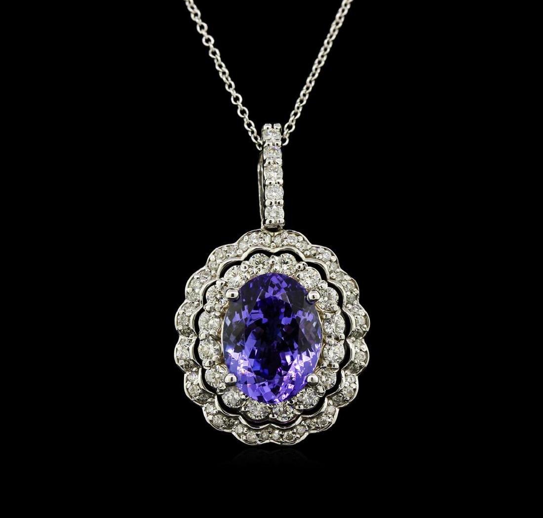 5.23 ctw Tanzanite and Diamond Pendant With Chain - - 2