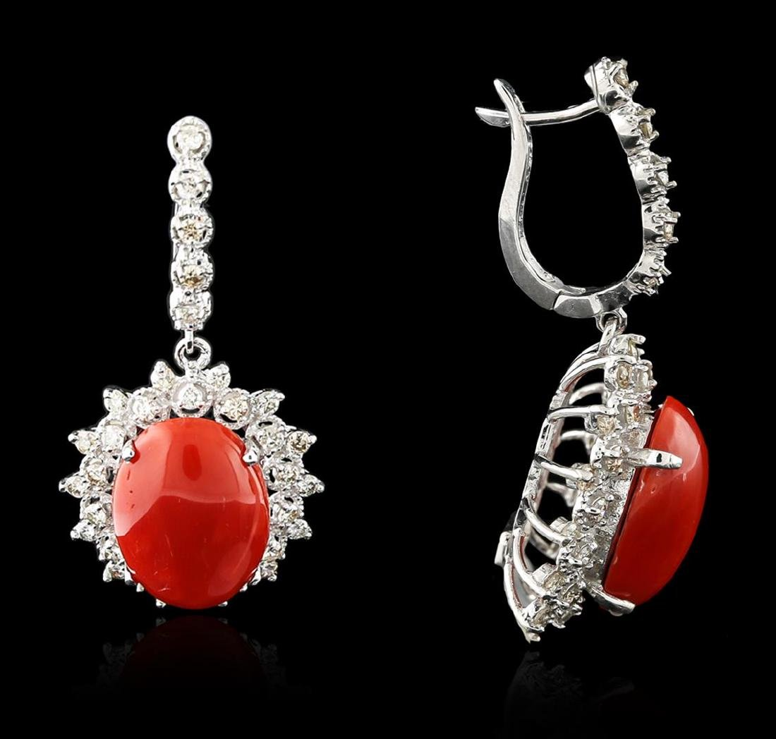 14KT White Gold 18.00 ctw Coral and Diamond Earrings - 2