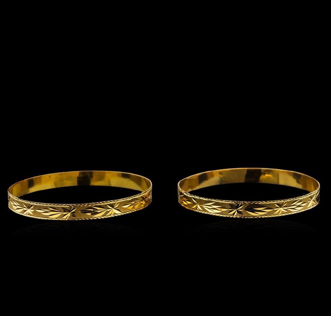 18KT Yellow Gold Bracelet Set - 2