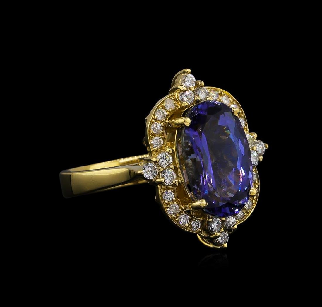 5.13 ctw Tanzanite and Diamond Ring - 14KT Yellow Gold