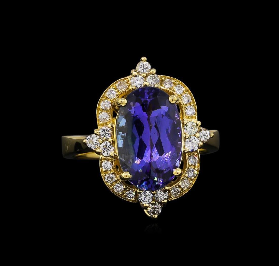 5.13 ctw Tanzanite and Diamond Ring - 14KT Yellow Gold - 2