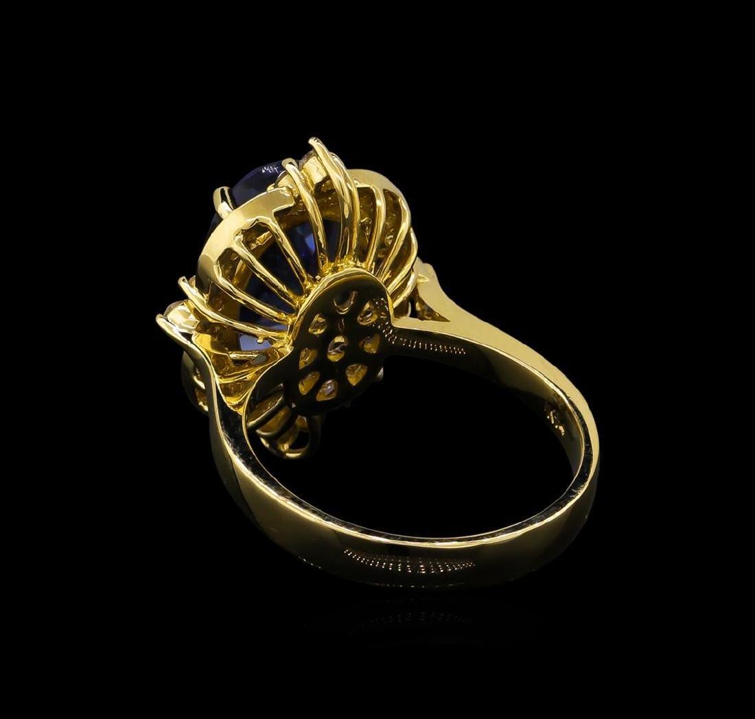 5.13 ctw Tanzanite and Diamond Ring - 14KT Yellow Gold - 3