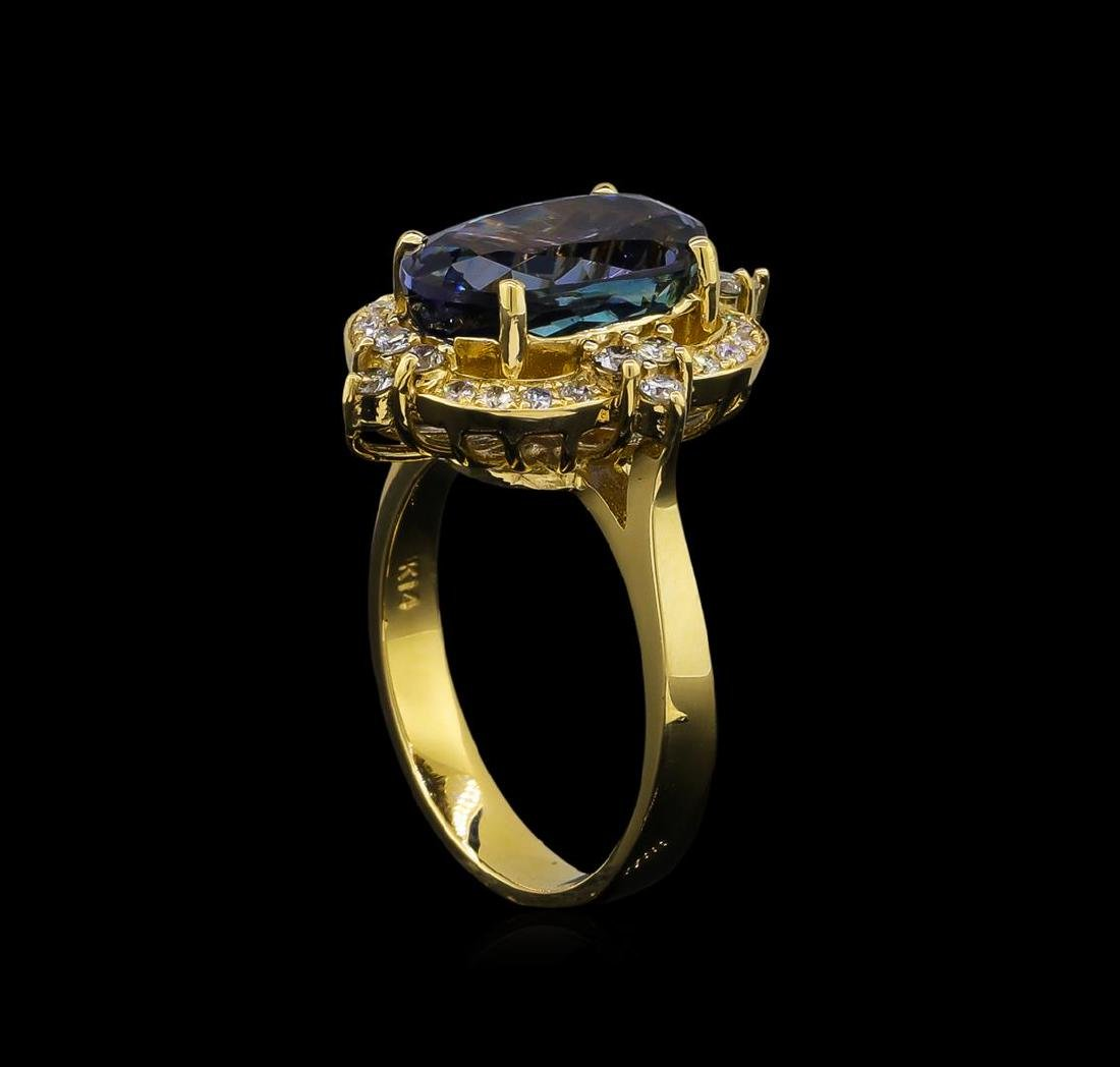 5.13 ctw Tanzanite and Diamond Ring - 14KT Yellow Gold - 4