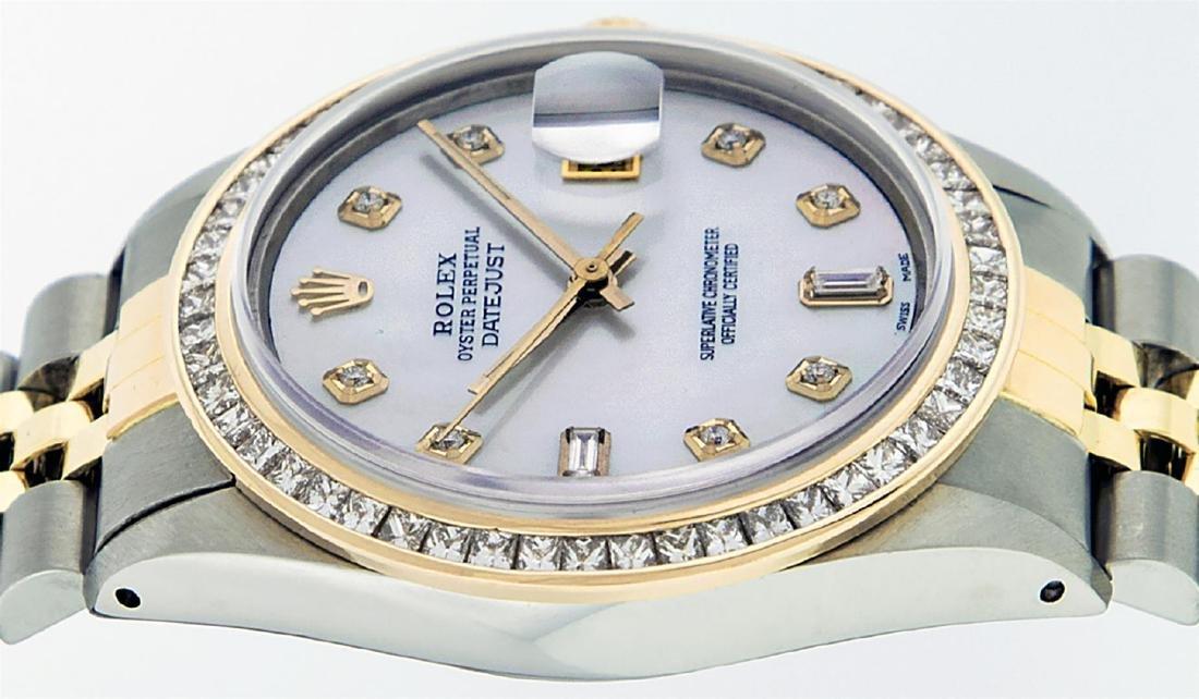 Rolex Mens 2 Tone 14K MOP Princess Cut Diamond Datejust - 5