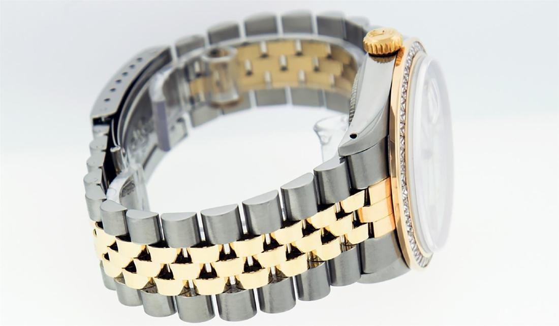 Rolex Mens 2 Tone 14K MOP Princess Cut Diamond Datejust - 7