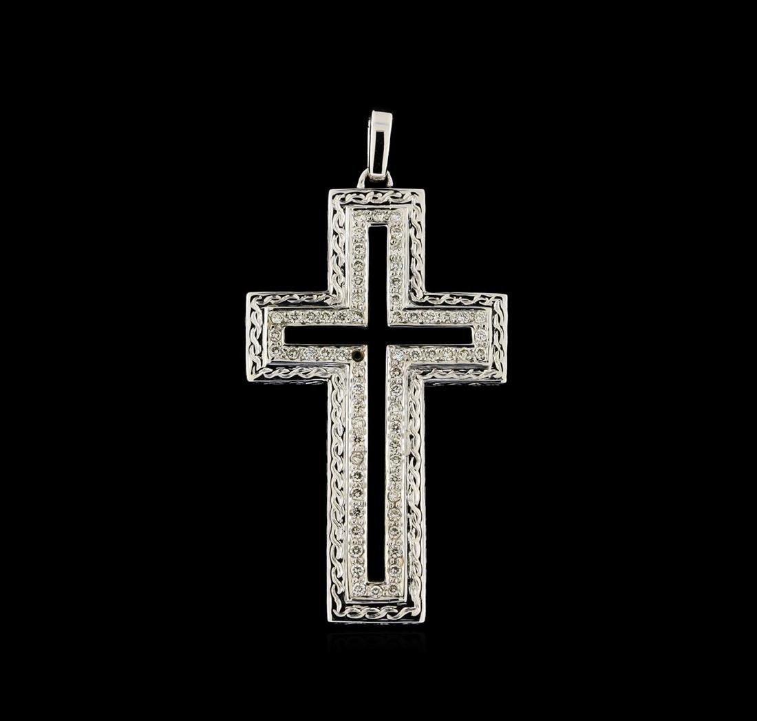 0.60 ctw Diamond and Onyx Cross Pendant - 18KT White