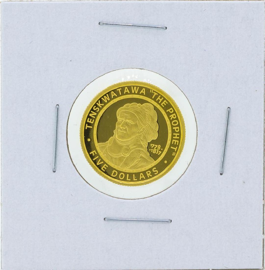 2002 $5 The Sovereign Nation of the Shawnee Tribe Gold