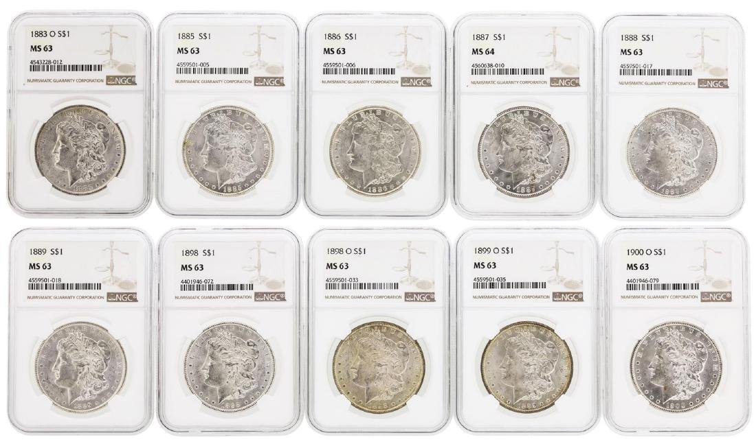 Lot of (10) Assorted $1 Morgan Silver Dollar Coins NGC
