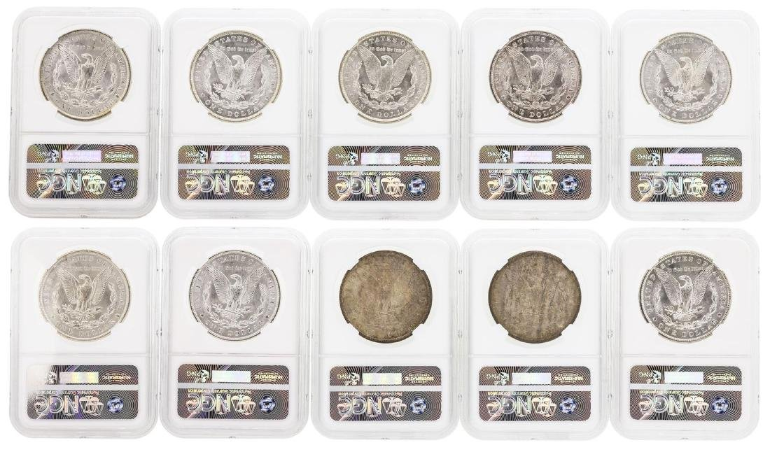 Lot of (10) Assorted $1 Morgan Silver Dollar Coins NGC - 2