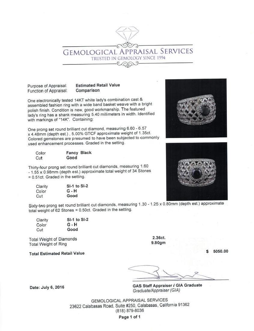 2.36 ctw Black Diamond Ring - 14KT White Gold - 5