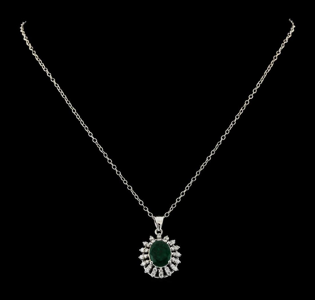 2.91 ctw Emerald and Diamond Pendant With Chain - 14KT