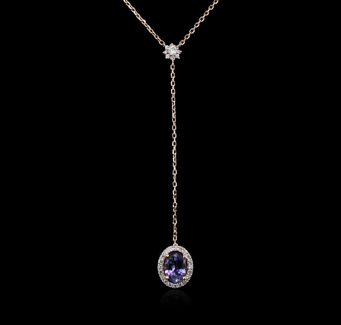 1.28 ctw Tanzanite and Diamond Necklace - 14KT Rose - 2