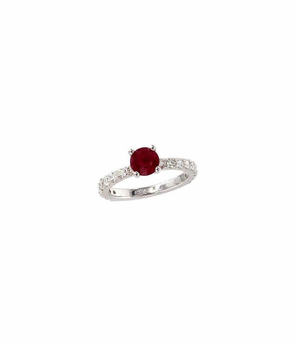 2.84 ctw Ruby and Diamond Wedding Set - 14KT White Gold - 2