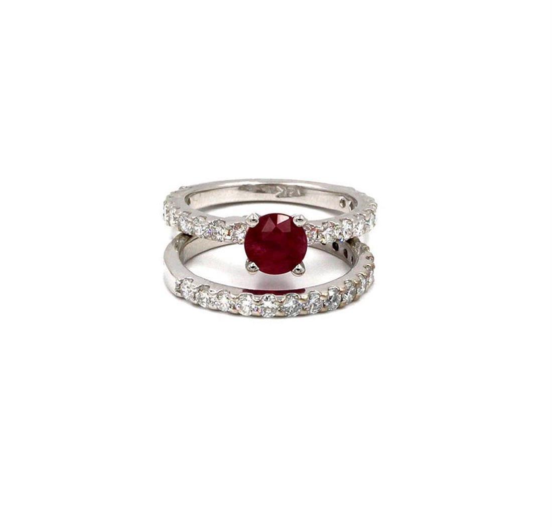 2.84 ctw Ruby and Diamond Wedding Set - 14KT White Gold - 3