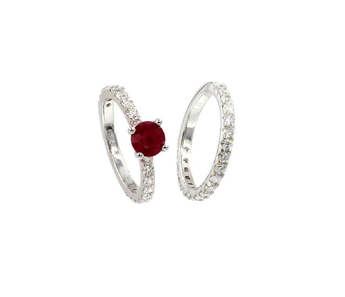 2.84 ctw Ruby and Diamond Wedding Set - 14KT White Gold - 4